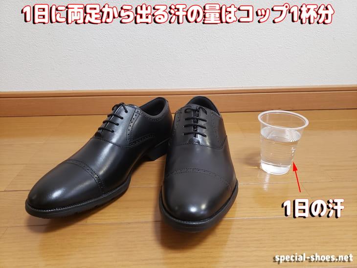 1日に両足から出る汗の量はコップ1杯分