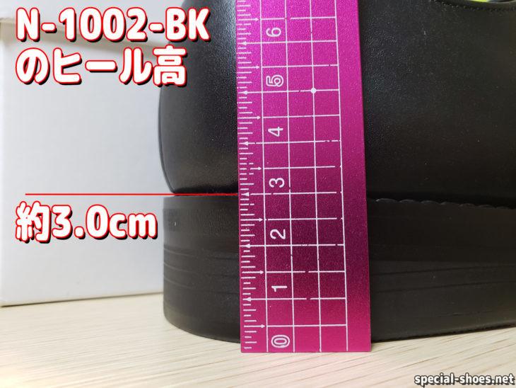 AIR'S風の靴N-1002-BKのヒール高